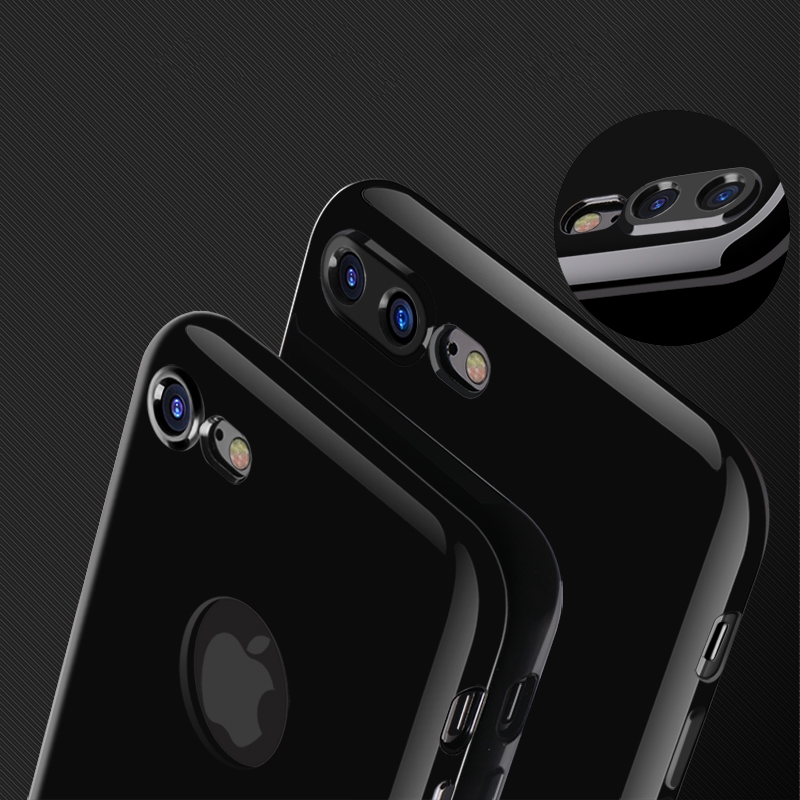 For Apple Iphone 7 Plus Case 8 Silicon Thin Jet Black Soft Coque Cover 6s 6 Logo Hole In Half Wrapped From