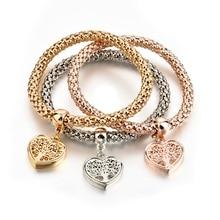 Drop Shipping 3pcs Set 2019 New Design Heart Hollow Out Tree Charm Bracelet Vintage Gold Elastic Bracelets For Women SBR170118MT stylish rhinestone hollow out elastic bracelet for women
