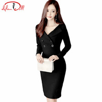 2017 Autumn Black Office Work Dress Women Suit Nack Full Sleeve Knee Length Pencil Bodycon Vestidos