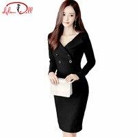 2017 Autumn Black Office Work Dress Women Suit Nack Full Sleeve Knee Length Pencil Bodycon Vestidos