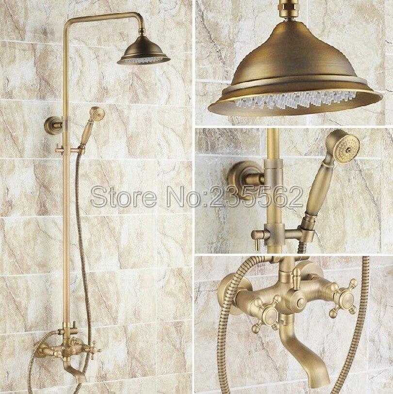 Retro Antique Brass 8.2 inch Rainfall Shower Sets Faucet with Bath Tub Mixer Tap Bath & Handheld Shower Rain Faucet Set lrs123