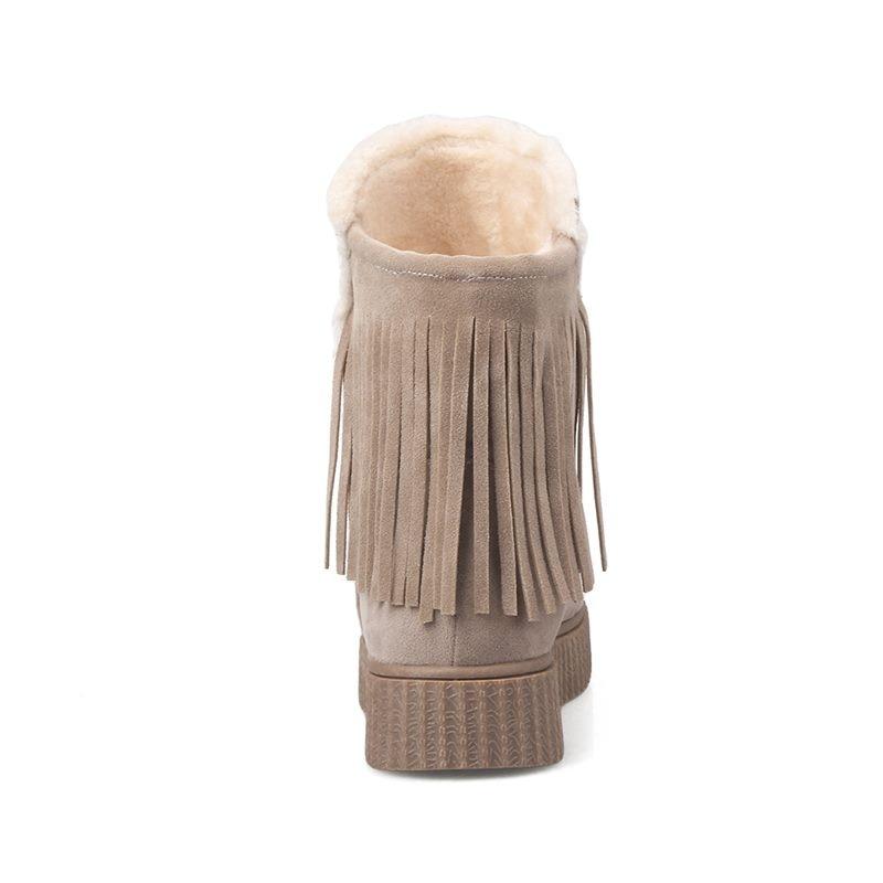 Stivali Asumer Contracted donna marrone piane inverno caviglia Conservazione scarpe beige da Piattaforma nuovo Neve Flock della nero 2018 nappa arrivo caldo della alla SqqdABr