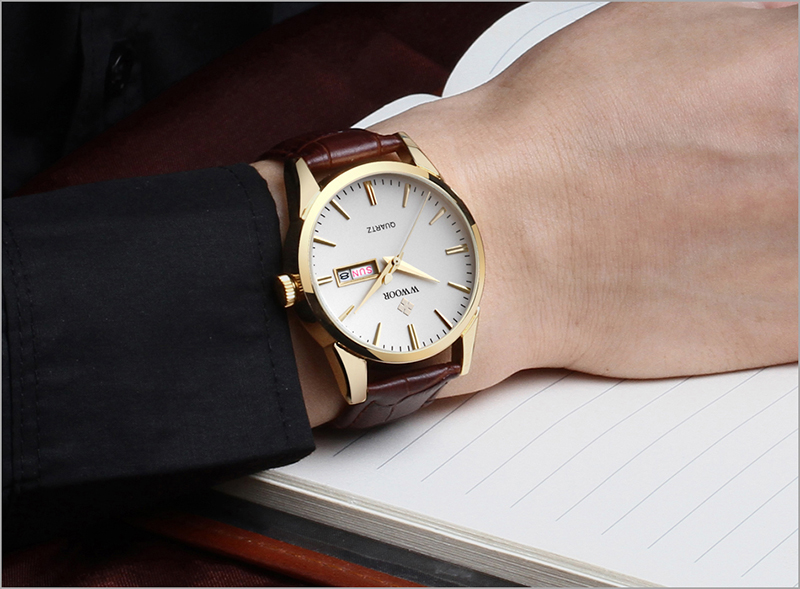 WWOOR 2019 Men\`s Watch Top Brand Luxury Sport Watch Men Quartz Gold Watches Genuine Leather Watch For Men relogio masculino (3)