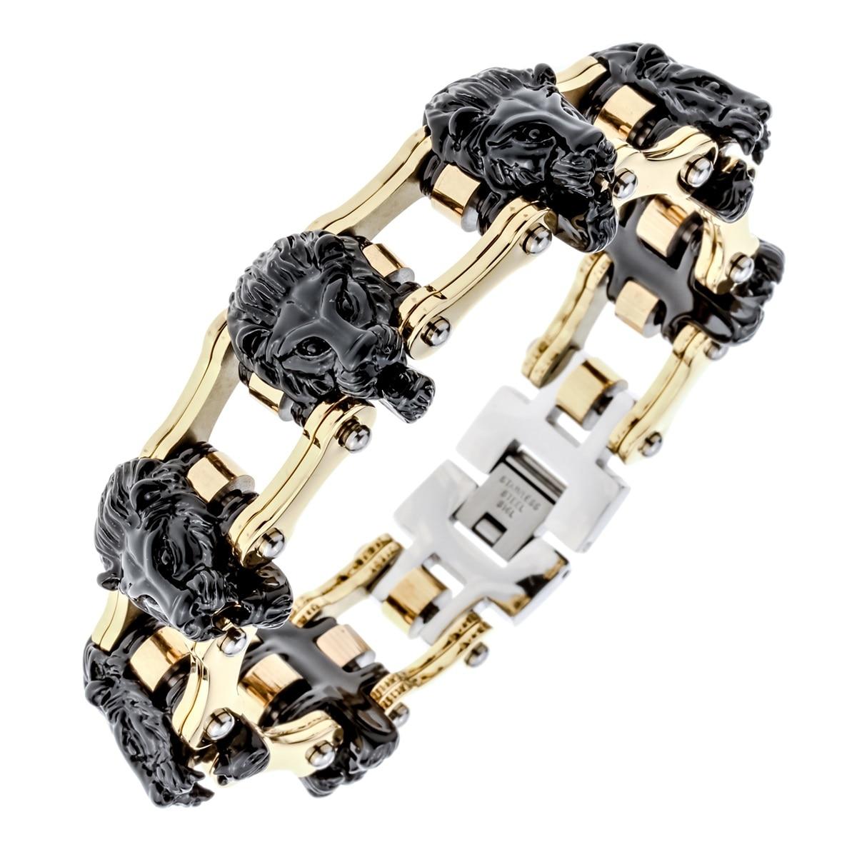Mens stainless steel lion link chain bracelet biker heavy jewelry birthday gifts for dad him boyfriend D033 dropship 8.5 opk biker stainless steel men bracelet