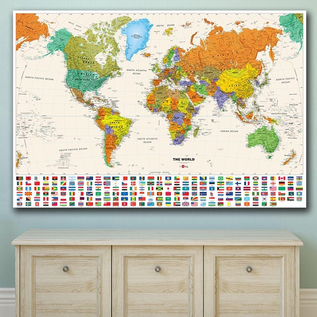 US $9.87 48% OFF|Large Size Wall Art Wall Map of World with Flags Canvas  Painting For Living Room Home Decor Oil Painting On Canvas Wall Painting-in  ...