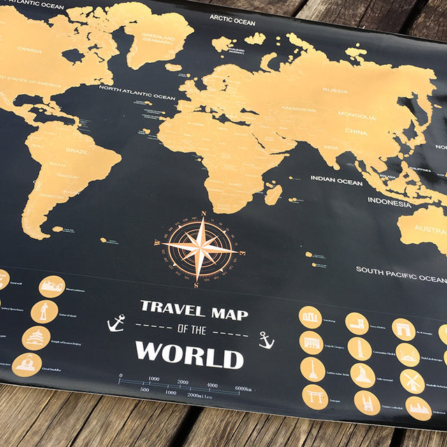 Online Shop Travel Adventure World Maps Black Gold Easy Foil Layer - Black and gold world map