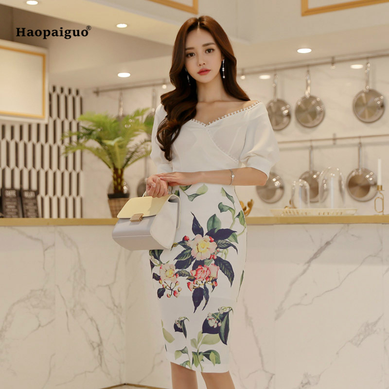 2 Piece Set Women Suit Summer White V-neck Short Sleeve Elegant Top and Print Sexy Party Sheath Bodycon Midi Skirt Two Piece Set white ruched bodycon sexy two piece outfits