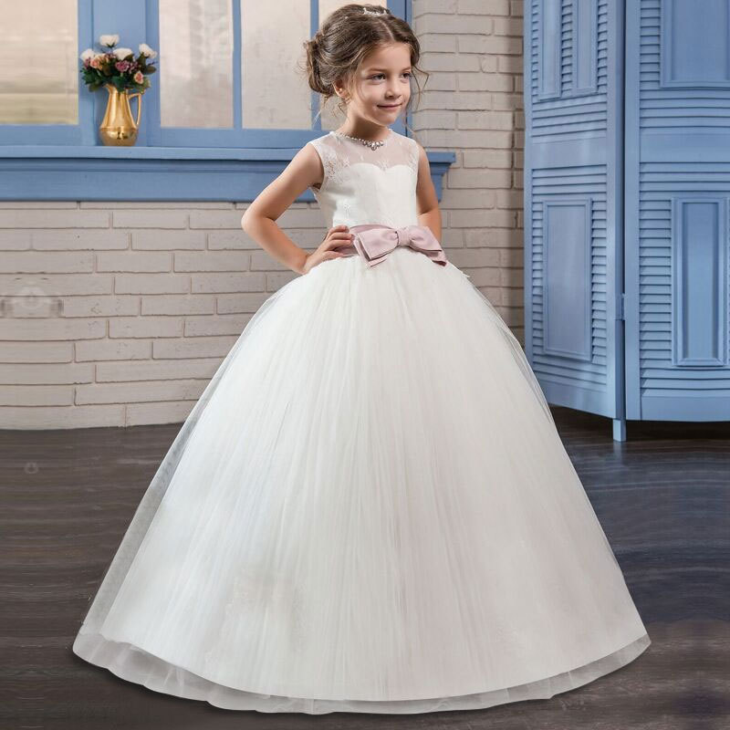 White Kids Girl Dresses for Wedding Party Children Communion Graduation Gown Teenagers Girl Birthday Ceremony Prom DressWhite Kids Girl Dresses for Wedding Party Children Communion Graduation Gown Teenagers Girl Birthday Ceremony Prom Dress