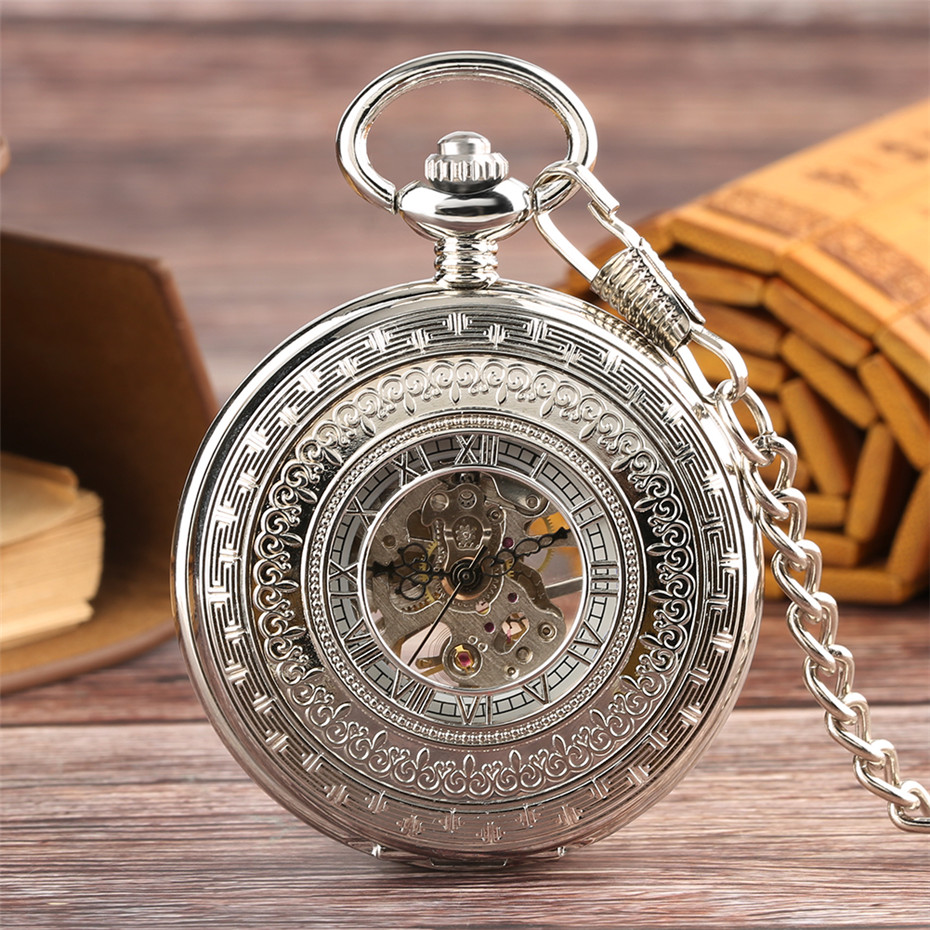 Luxury Gentlemen Silver Mechanical Pocket Watch Hand Winding Roman Numerals Display Pendant Fob Clock Retro Souvenir Gifts Male