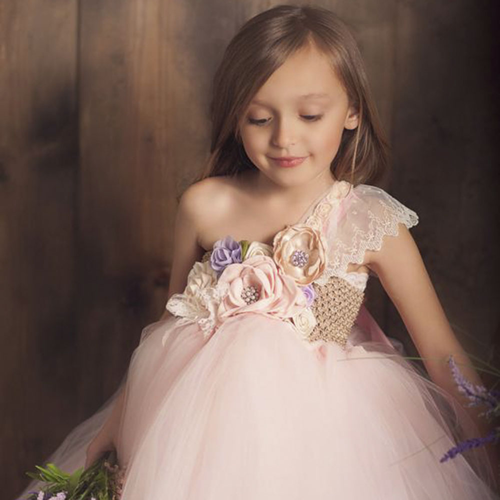 Flower Girls One Shoulder Toddler Party Dress Beige Top Pink White Polyester Tulle Lace Evening Dresses Vintage Dress Kids Tutu (10)