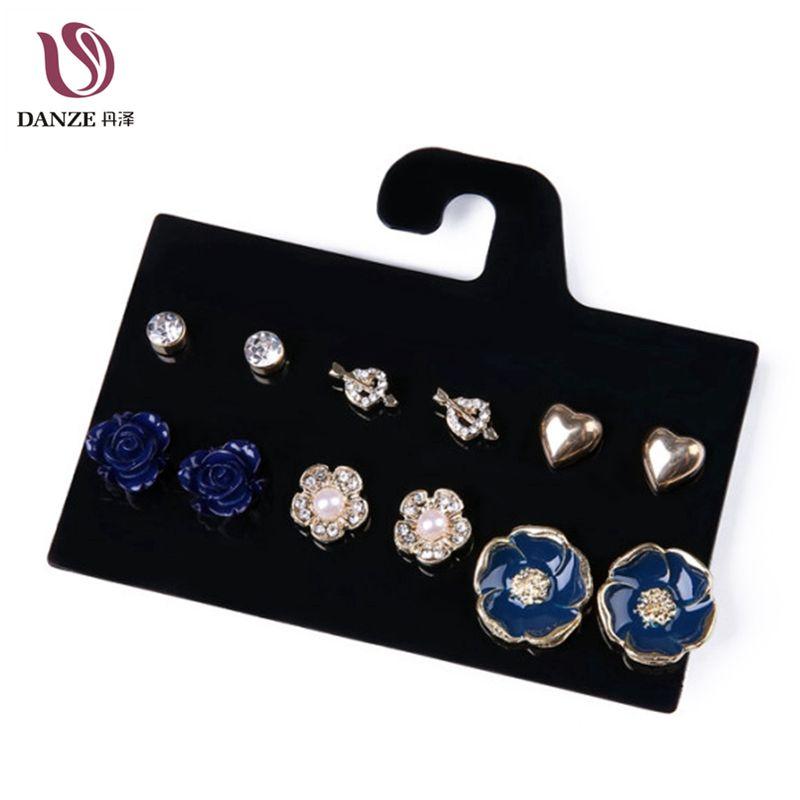 DANZE 6 poros / partijos naujausios mėlynos rožės gėlės širdies formos krištolo auskarai nustatyti kalnų krištolas auskarai moterims papuošalų auskarai