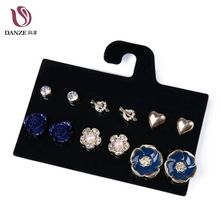 DANZE 6 Pairs/Lot Newest Blue Rose Flower Heart Shaped Crystal Stud Earrings Set Rhinestone Earing For Women Jewelry Earring