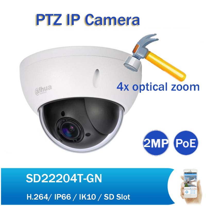 Original DH DH-SD22204T-GN 2mp Mini PTZ IP Camera 1080p Full HD 4x Zoom PoE Network Speed Dome IP Camera with Logo original dahua 1080p mini ptz ip camera dh sd22204t gn 4x zoom hd network speed dome camera onvif sd22204t gn with power supply