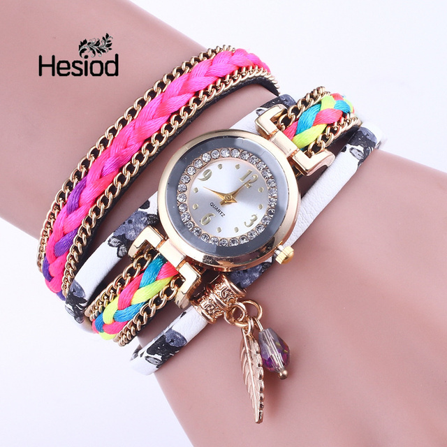 Hesiod Leather Watch Quartz Women Dress Bracelet Watch Gift Clock Fashion Busine