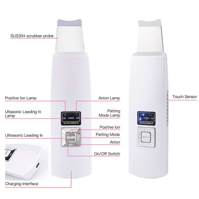 Ultrasonic Deep Face Cleaning Skin Scrubber Reduce Wrinkles