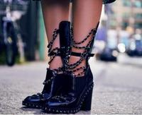Punk Style Black Patent Leather Silver Chain Ankle Boots Ankle Boots For Women Chunky High Heel