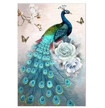 DIY Diamond Painting Blue Peacock Vertical Full Embroidered Cross Stitch  Christmas Decorations for Home