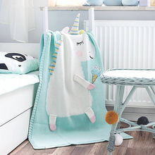 3D Unicorn Blanket Children's Knitted Blanket Baby Blanket Air Conditioning Blanket Newborn Baby Photography Background blanket eponj home blanket