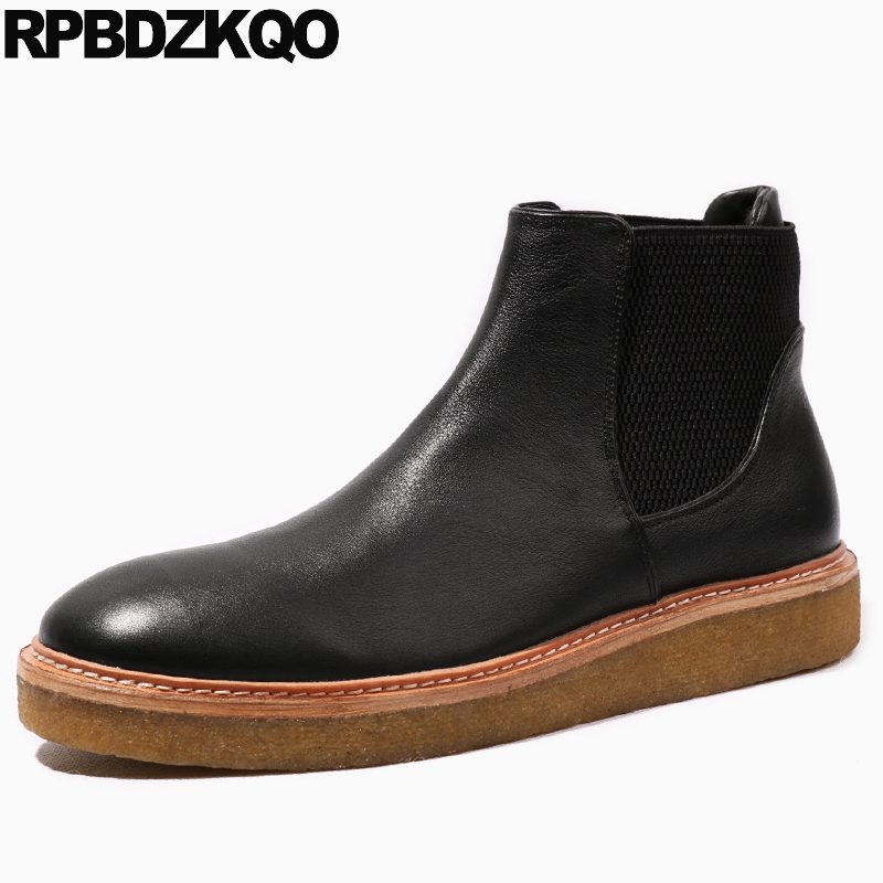 все цены на Footwear Ankle Flat Platform Chelsea High Top Shoes Booties Full Grain Autumn Black Genuine Leather Sole Men Fall Boots онлайн