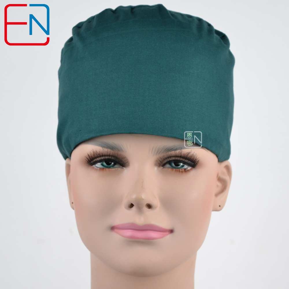 Hennar Brand Scrub Caps Medical Surgical Dentist Caps Pet Doctor Perfect Sewing Hats With Sweatband Dark Green Scrub Caps Masks
