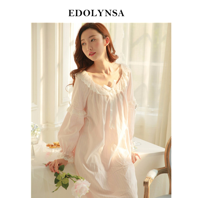 New Arrivals Vintage Nightgowns Sleepshirts Sexy Home Dress Lace Sleepwear  Solid Sleep   Lounge Cotton Nightgown female  H93 9004b03c8