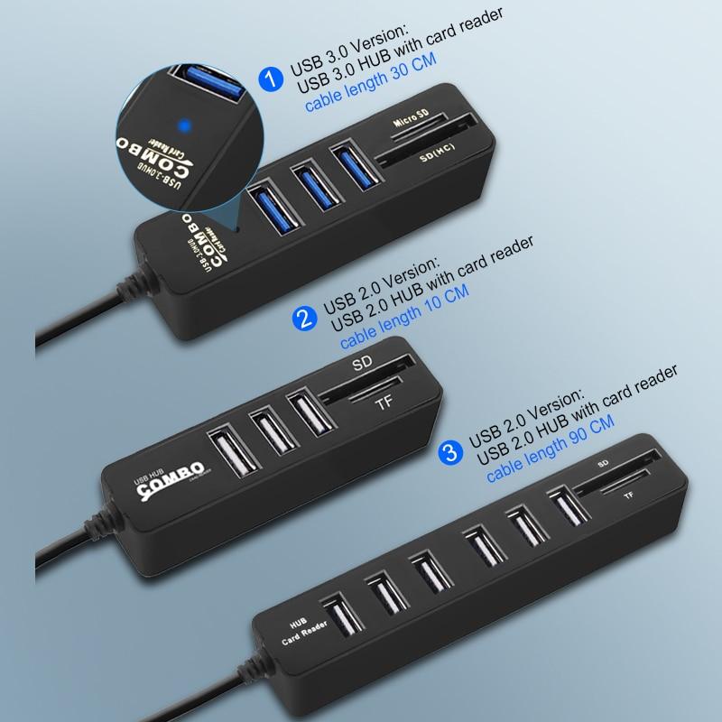 6 Ports USB 2.0 Hub Splitter Multi USB Combo 2 In 1 SD//TF Card Reader For PC