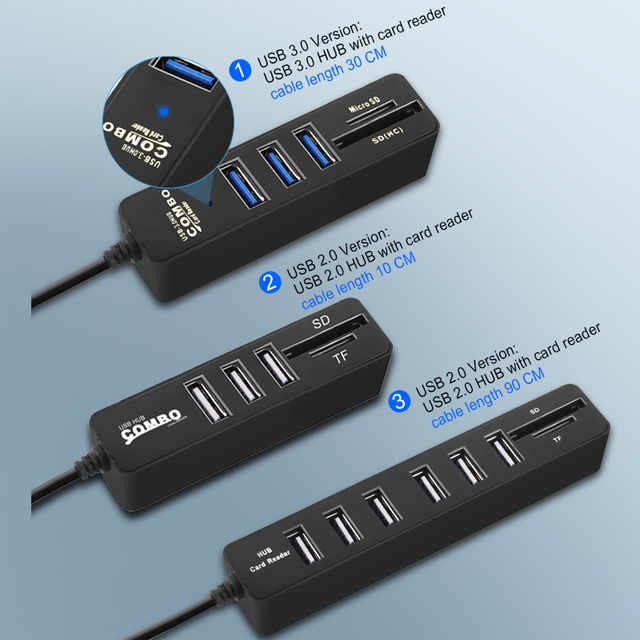 USB Hub 3.0 Multi USB 3.0 Hub USB Splitter High Speed 1