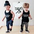 Humor bear bebé ropa de verano niños que arropan el sistema kids clothes suit niños bebés set negro chaleco top + pant suit
