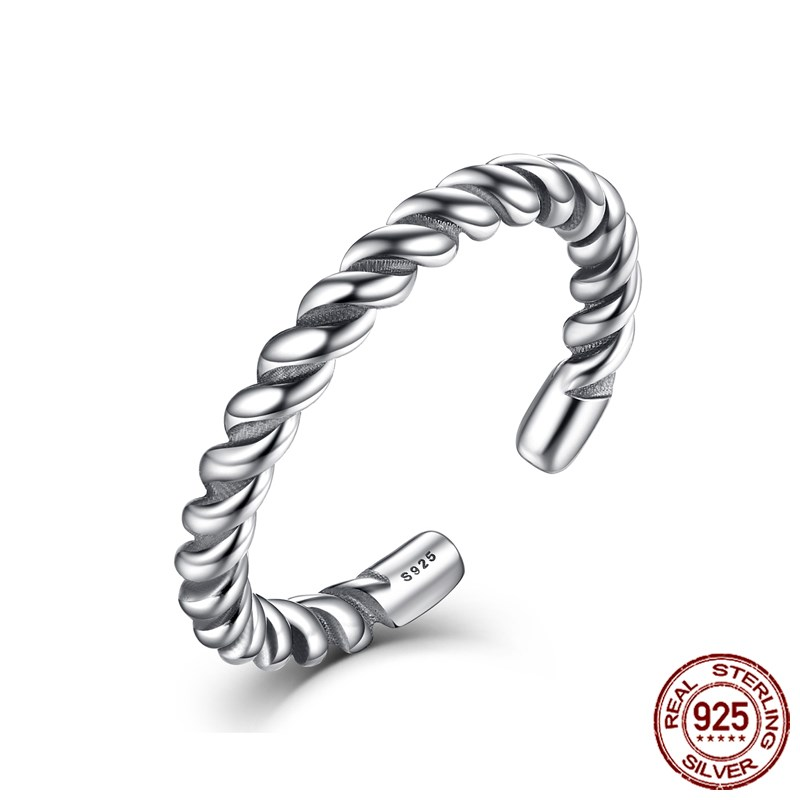 Voroco 925 Sterling Silver Open Ring Twisted Rope With Pearl For Women's Jewelry