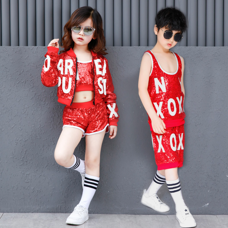 New Children's Sequin Costumes Boys And Girls Jazz Dance Street Dance Performance Clothing Boys And Girls Modern Dance Set