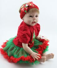 22″ Poseable Lifelike Reborn Baby Girl Dolls Fake Infant in Santa Outfit Christmas Gift Home Decorations