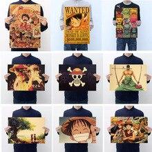 Figura de acción de Anime de una pieza póster artesanal Vintage de papel Anime una pieza Luffy Ace Zoro afiches de Sanji Luffy quería regalos para niños