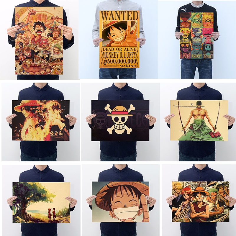 Anime <font><b>One</b></font> <font><b>Piece</b></font> Action Figure Poster Craft Vintage Paper Anime <font><b>One</b></font> <font><b>Piece</b></font> Luffy Ace Zoro <font><b>Sanji</b></font> Posters Luffy Wanted Boys Gifts image