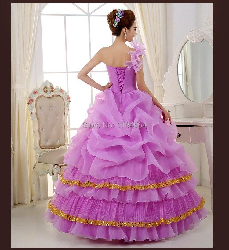 Último diseño vestido De bola con cuello en V flores bola De ...