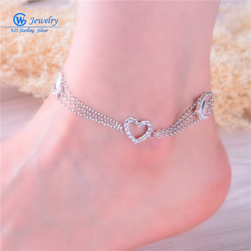 GW Fashion Jewelry 925 Sterling Silver Style Anklets Foot Chain pulseras tobilleras mujer bijuterias Women AC001H20 браслет на ногу pulseras tobillo bisuteria mujer tobilleras diy anklet