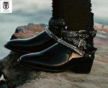 FR.LANCELOT 2019 New fashion Chelsea boots men real leather black Leather ankle botas slip on sliver chains