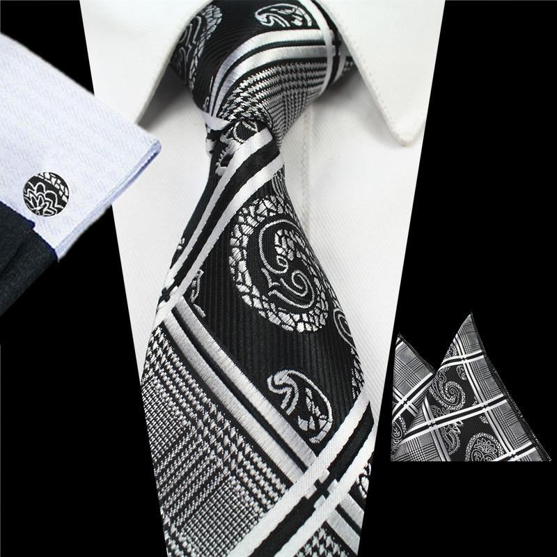 RBOCOTT 8 cm Silk Jacquard Tenunan Mens Paisley Tie Hanky - Aksesori pakaian - Foto 3