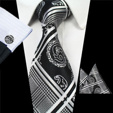 RBOCOTT Silk Jacquard Woven Mens Plaid Tie, Hanky and Cufflinks Set