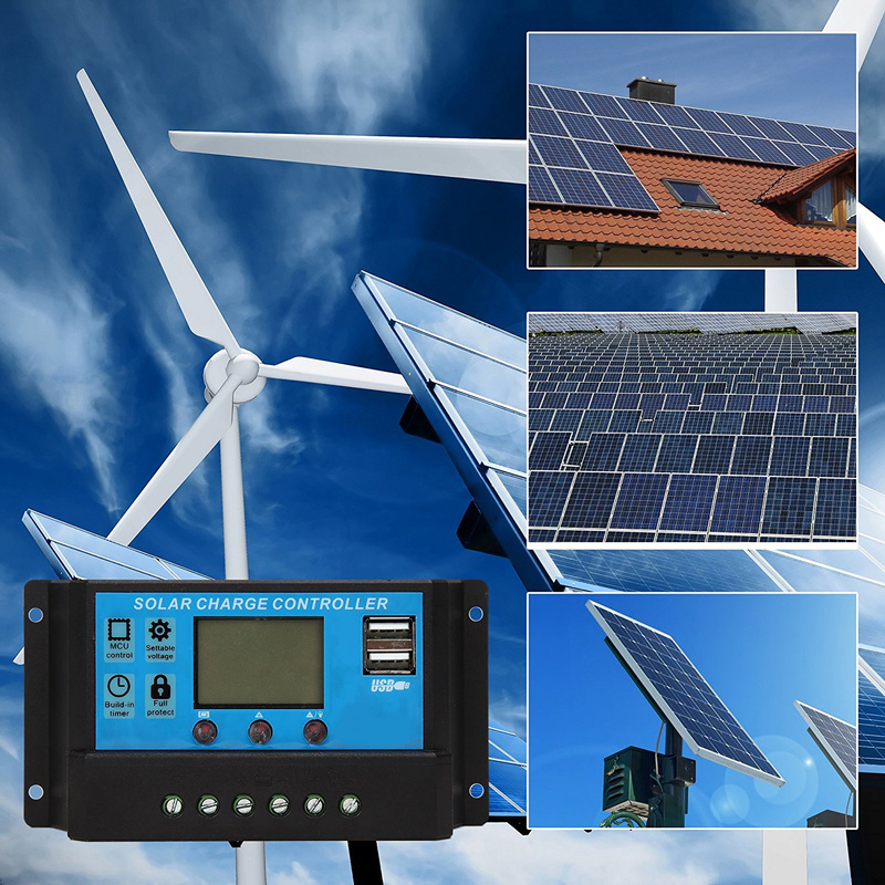Auto Solar Charge Controller PWM 60A/50A/40A/30A/20A/10A 12V 24V With LCD Dual USB 5V Output Solar Cell Panel Regulator PV Home