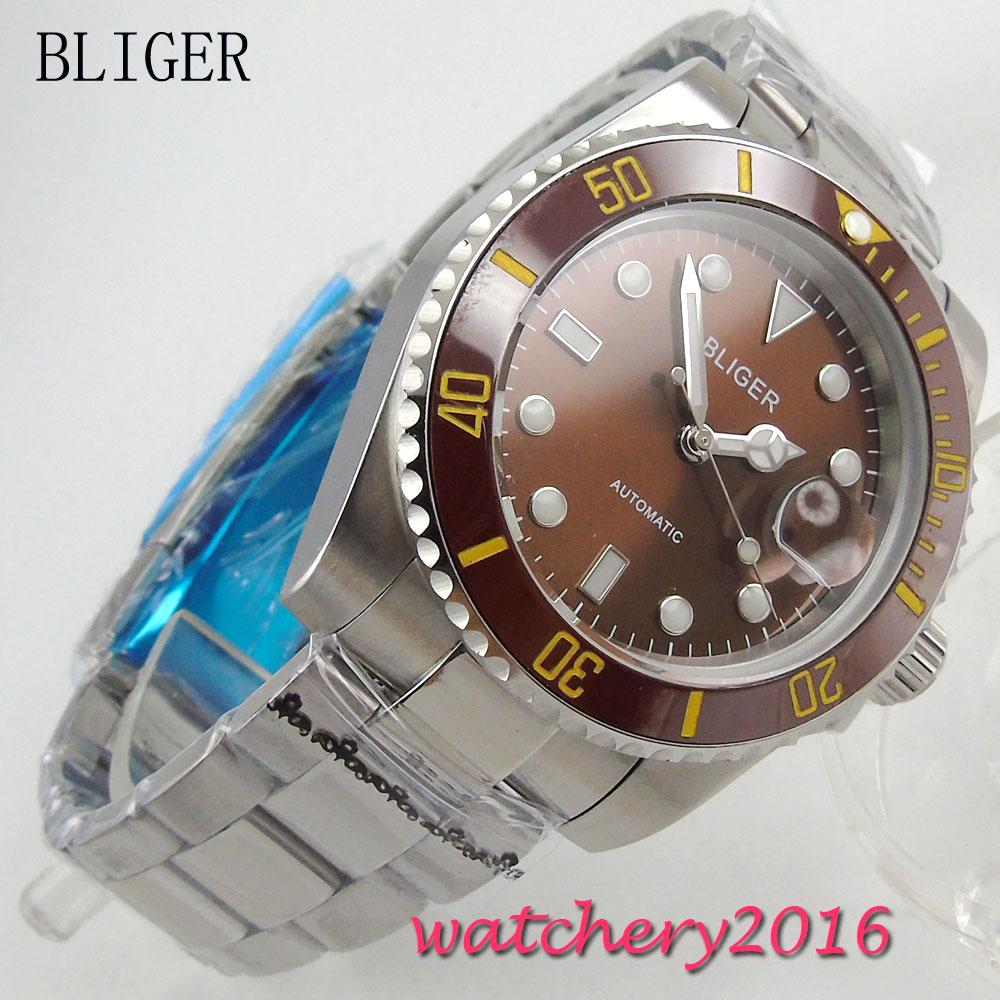 40mm Bliger Sterile Brown Dial ceramic Bezel Sapphire Crystal Bracelet Buckle Calendar Automatic Mechanical Men's Wristwatch survival nylon bracelet brown