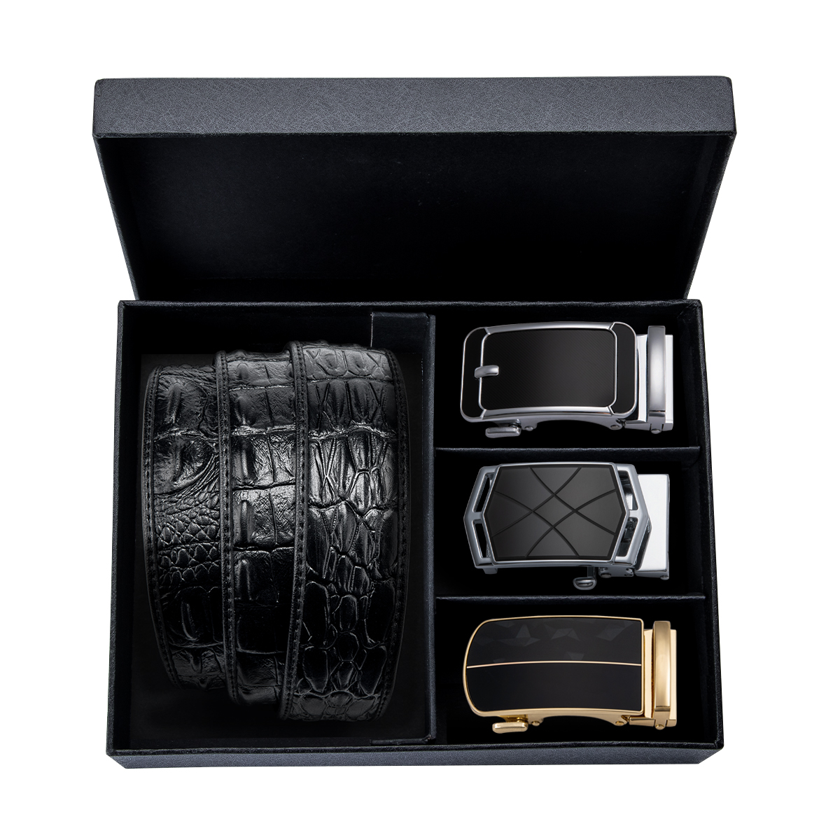 Male Formal Business Belt Automatic Buckle Black Luxury Gift Box Belt Men Brand Crocodile Cowbody Jeans Waistband Strap 130cm