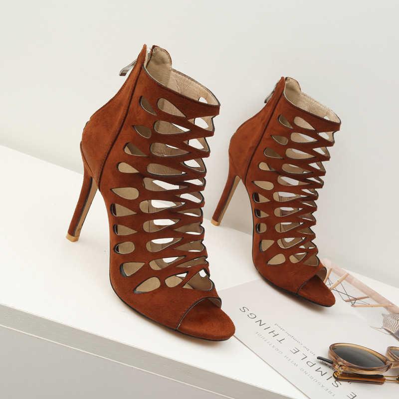Kadın Ince Yüksek Topuk yarım çizmeler Moda Peep Toe Fermuar Yaz Ayakkabı Siyah Kahverengi Mor