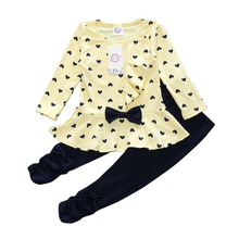 Girls Set Little Heart-shaped Printing Shirt Spring Autumn Fashion Ruffle Bow Cotton Children's Suit Girl's Clothing
