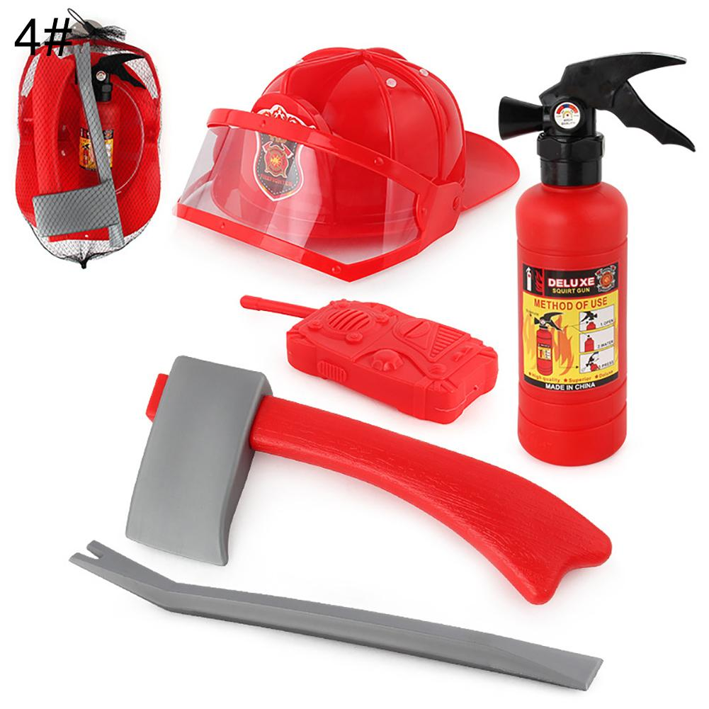 Kids Pull-Type Fire Extinguisher Water Gun Cap Firefighting Suit Beach Play Toys