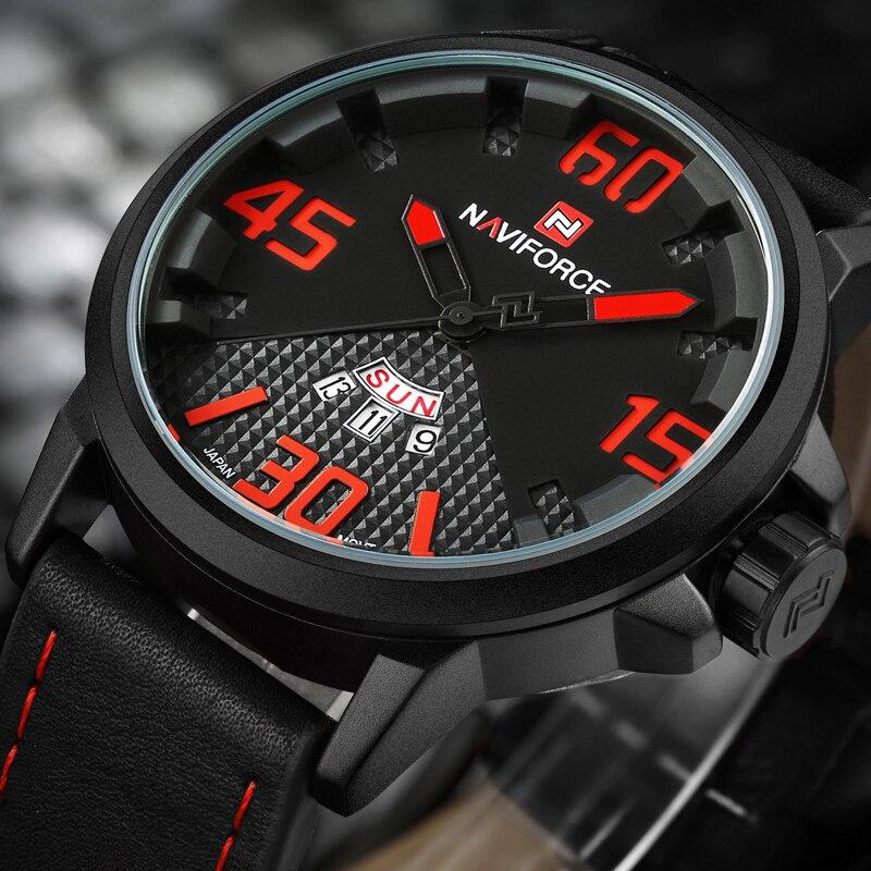 2016 New Watches Men NAVIFORCE Luxury Brand Fashion Men's Quartz Watch Date Waterproof Sport Man Clock Leather Strap WristWatch naviforce new genuine leather watch men