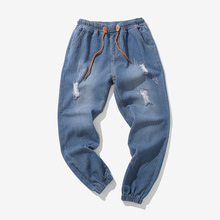 PADEGAO 2018Mens hole jeans brand fashion men Harem Pants Beam foot trousers Hip hop Motion pants Elastic Waist Joggers