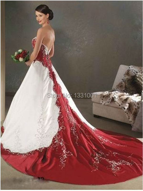 Red And White Wedding Dress.Us 199 88 Cheap Red And White Wedding Dresses 2016 New Fashion Sexy Strapless Bridal Dress For Women Vestido De Noiva Vintage Plus Size In Wedding