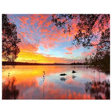 Decoration Oil Painting For Living Room,Sunset Lake, By Numbers,Diy Paint Number