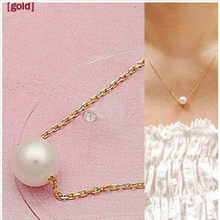 Fashion Simple Lady Style Imitation Peal Necklace Gold Color Fashion Jewellery Pendant Crystal 4ND21(China)