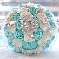 BRITNRY Satin Wedding Flowers Rhinestone Jewelry Purple Pink Brooch Bouquet Blue Broach Bridal Wedding Dress Wedding Bouquet